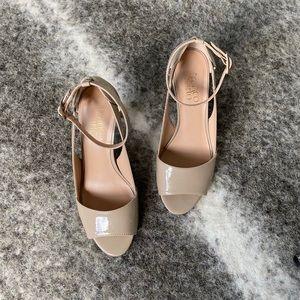 Franco Sarto Nude Patent Ankle Strap Heel Sz. 6